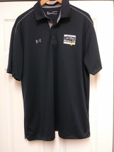 Under Armour heat gear loose XL embroidered Subaru motor oil black polo shirt