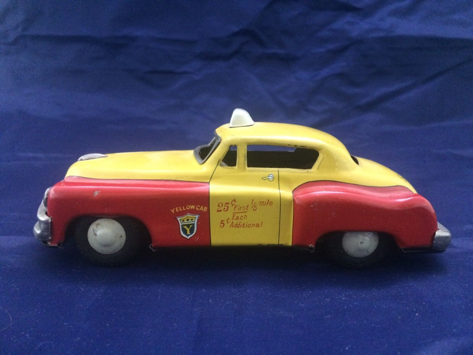 Vintage AHI Tin Toy Taxi Yellow Cab Japan