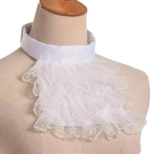 Unisex Jabot Collar Victorian Detachable Lace Ruffle Steampunk Edward Collar
