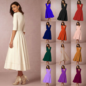 Details about Vintage Retro Style Rockabilly Dresses Plus Size Pinup Party  60s 50s Swing Dress