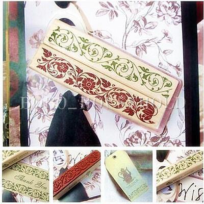Wooden Rubber Stamp Seal Flower Floral Lace Border Scrapbook Craft Card Making