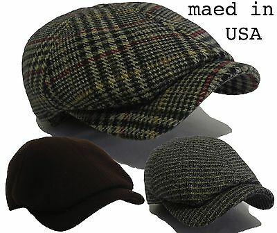 Made in USA 100% wool  Ivy Hat Gatsby Cap Newsboy tweed snap Golf Driving Cabbie