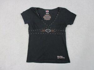 Harley-Davidson-Shirt-Womens-Large-Black-Florida-Biker-Motorcycle-Ladies-A15