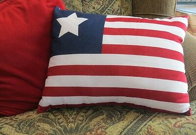 AMERICAN FLAG PILLOW : PATRIOTIC COUNTRY RED WHITE BLUE AMERICA ACCENT TOSS