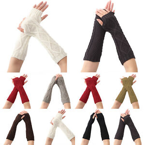 Women-039-s-Fingerless-Gloves-Wrist-Arm-Warmer-Knit-Winter-Thick-Mittens-Thermal