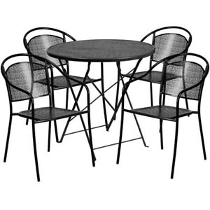 Details About 30u0027u0027 Round Black Indoor Outdoor Steel Folding Patio Table Set  With 4 Round Ba...