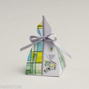 Copieux Lot De 10 Boites à Dragées Bougie Communion Collection Vitrail Vert Sans Ruban Grandes VariéTéS