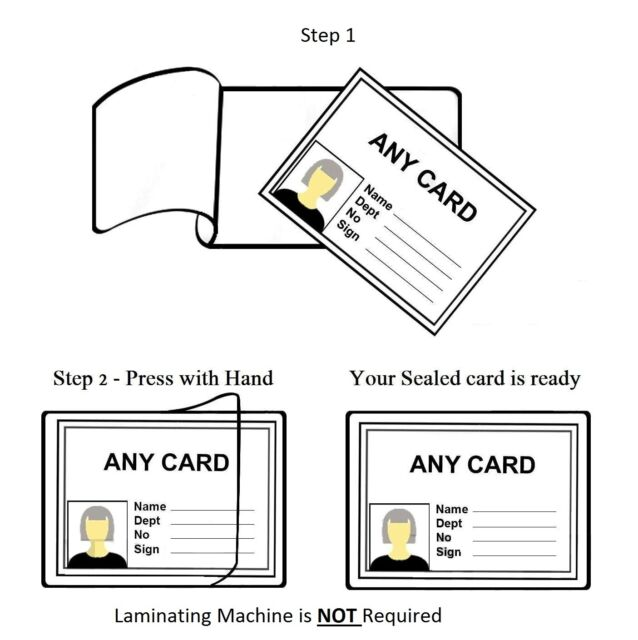 Pack 100 Ref 11024 3L Pouches Self-Laminating Cards Handi-pouch 66x100mm
