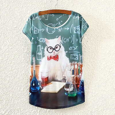 Vintage Fashion Summer Women Short Sleeve Chemistry Lab Cat Print T Shirt Tee