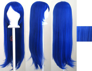Wig Blue Cosplay Long Straight 32'' Long NEW Bangs Royal xwqB7AZT0
