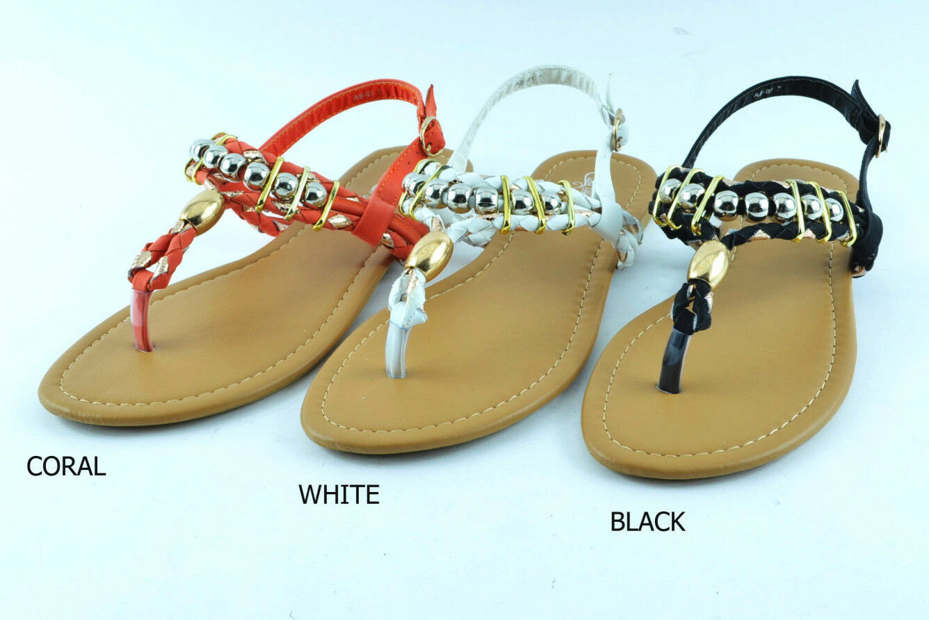 fd8dfeb53ef17 Women s Summer Strappy Sandals Thong Gladiator T-Strap Flats Sandal Shoes
