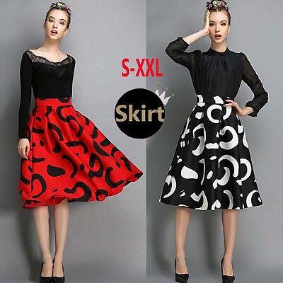 New Hepburn Print Contrast Color High Waist Pleated A-Line Ball Gown Midi Skirt