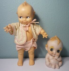 2 Vintage Kewpie Dolls - ©Cameo JLK & All Bisque Blue Winged Kewpie - Super Cute