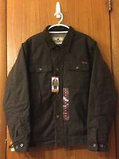 Woolrich Sherpa Canvas Jacket Trucker Mens Size XL Dark Brown Priority Mail