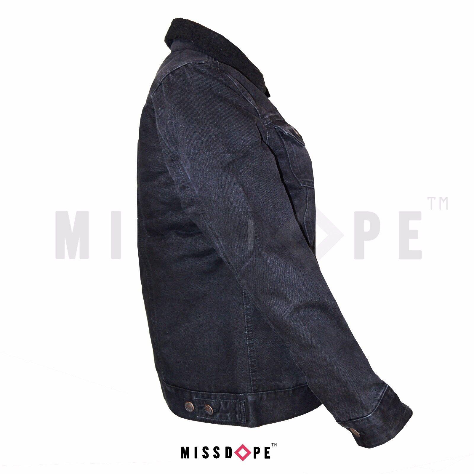 Nouveau fourrure noir cordon Denim Délavé Jean Veste Veste Veste Femme Femmes manteau Crop Manches longues f9293b