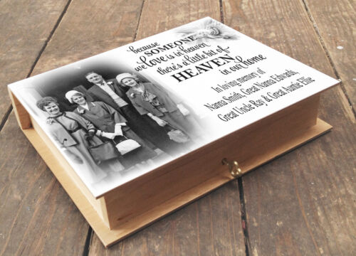Personalised wooden memory box and photo album in loving memory gift