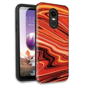 Details About Abstract Orange Paint Double Layer Case For Lg Tribute Empire K8 K8 Plus 2018