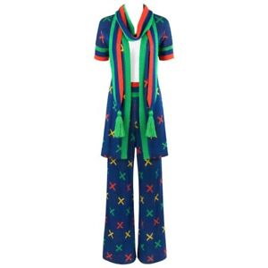 781234ca499 SANT ANGELO c.1970 s 3 Pc Multicolor X Pattern Knit Cardigan Scarf ...
