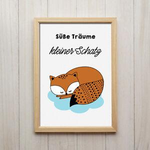 Fuchs Süße Träume Kunstdruck Din A4 Spruch Bild Druck Kinderzimmer