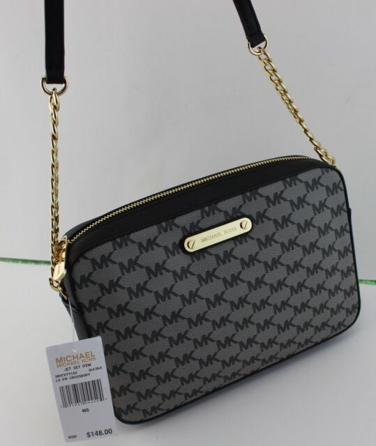 012b218d15bf NEW AUTHENTIC MICHAEL KORS JET SET ITEM BLACK HANDBAG LG LARGE EW CROSSBODY