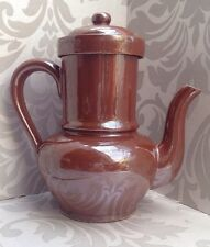Vintage French Large Ceramic Coffee Pot Stove Top Peculator Shabby Chic Kitchen