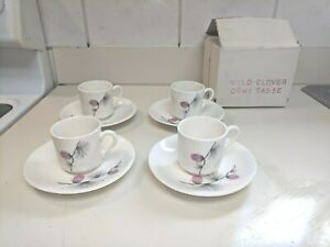 4-Vtg-Canonsburg-Pottery-Skyline-Wild-Clover-demitasse-cups-and-saucers-nib