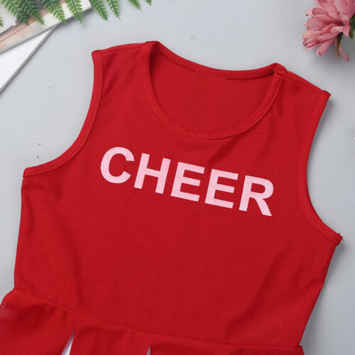 Girls Cheerleader Costume Children Fancy Dress Kids Party High School Outfit Set