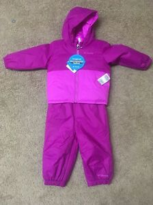 10e1ee246 NWT Columbia Infant Girls Reversible 2 pc. snowsuit set Pink Sz  6 ...