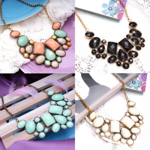 Fashion-Ladies-Crystal-Charms-Stones-Chunky-Necklace-Statement-Chain-For-Women