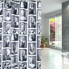 Nostalgic Marilyn Monroe Pattern Waterproof Black White Bathroom Shower Curtain