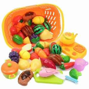 Kids Pretend Play Kitchen Food Set Cutting Fruits Vegetables Educational Toys Ebay