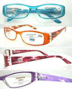 L368-Ladies-Reading-Glasses-Spring-Hinge-Fancy-Feather-Design-Simple-Plain-Frame