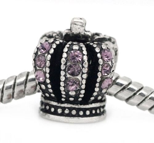 Mauve Pink Rhinestone 3D Crown 12mm Antiqued Silver Large 4.8mm Hole Charm Bead