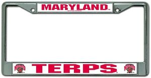 MARYLAND-TERRAPINS-CHROME-METAL-LICENSE-PLATE-FRAME-BRAND-NEW-RICO-INDUSTRIES