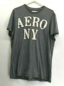 Aeropostale-Men-039-s-XL-Aero-NY-Lettering-Patched-Summer-Short-Sleeve-T-Shirt-Gray