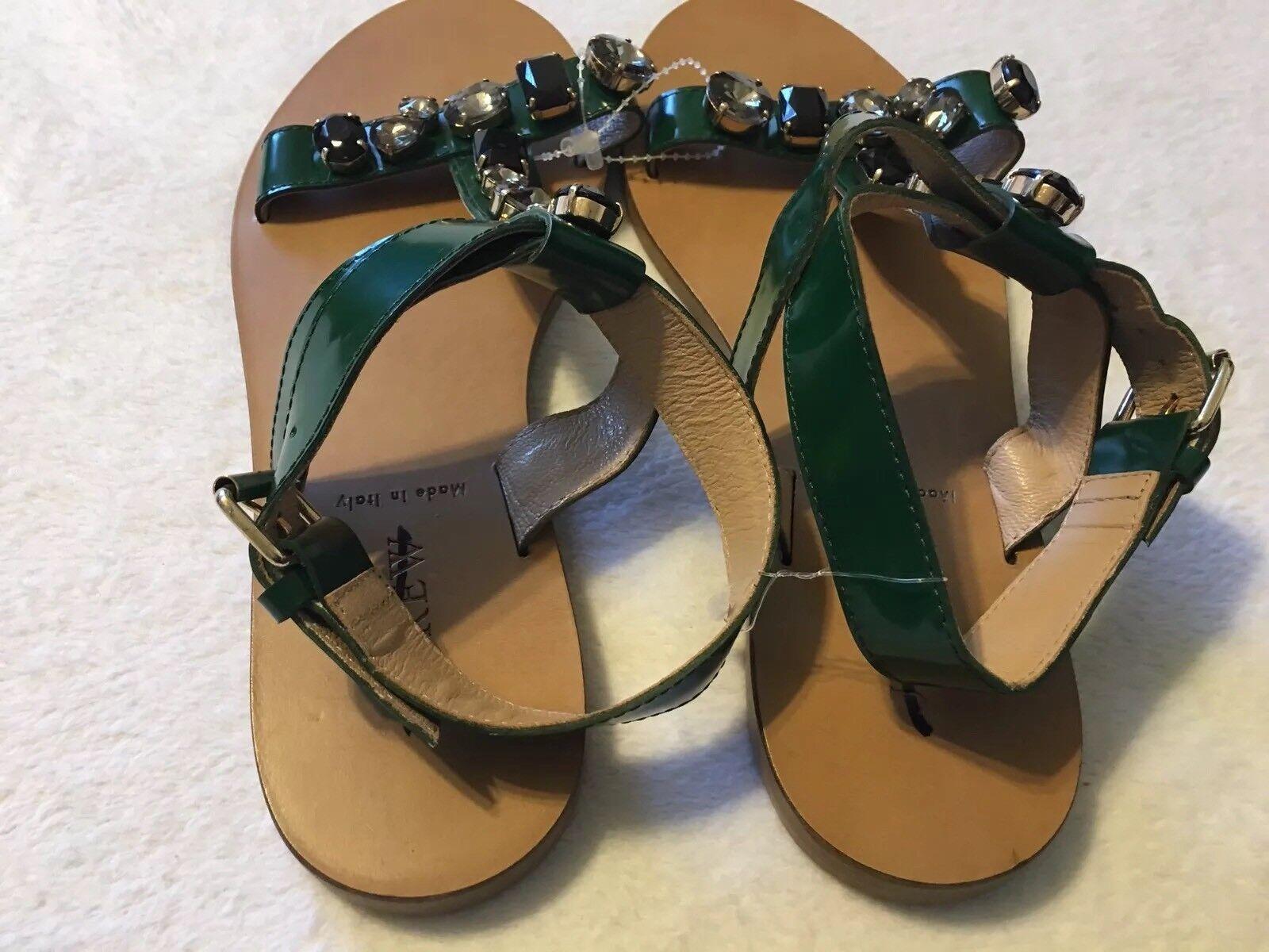 NEU JCREW 178 Tonal Jeweled T-strap Sandales Größe7 In Academic Green C4182