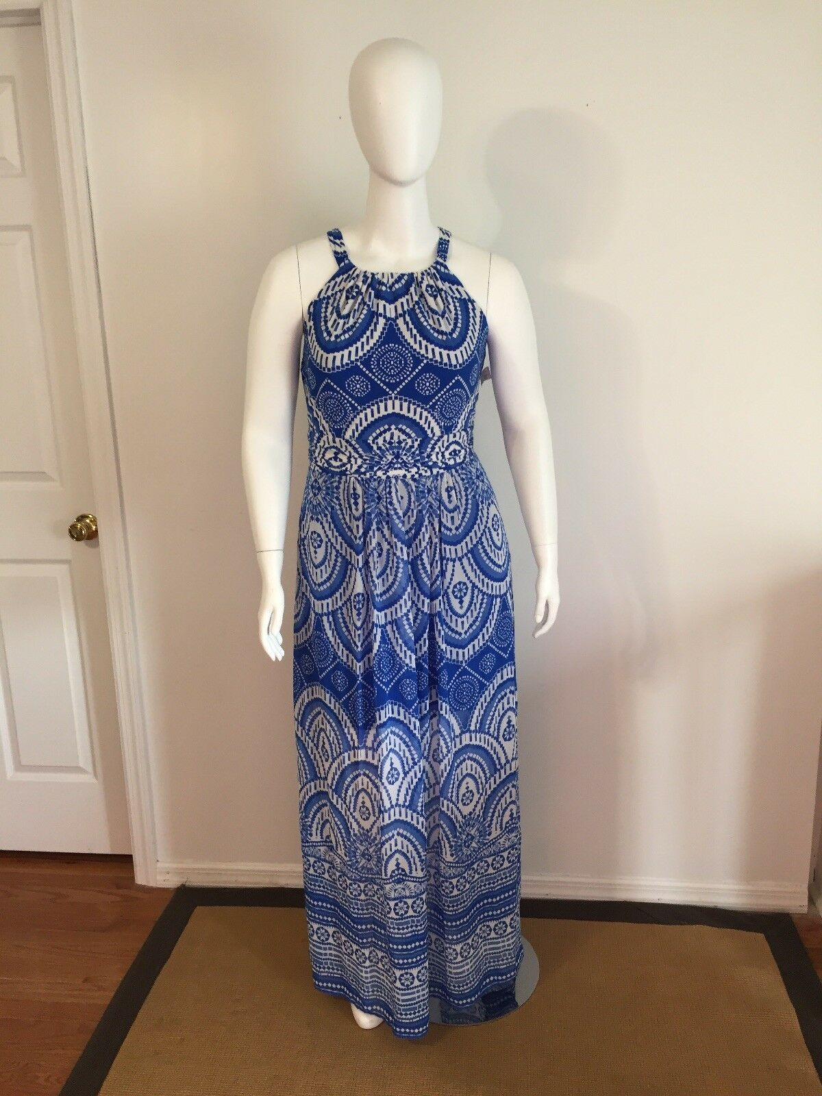 NWT Taylor bluee & White Print Maxi Summer Dress Size 14W