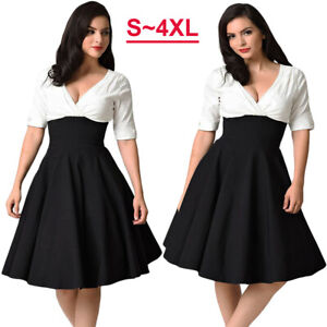 50s-Vintage-Women-V-neck-Hepburn-Plus-Size-Evening-Party-Rockabilly-Swing-Dress