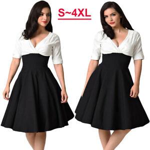 50s Vintage Women V-neck Hepburn Plus Size Evening Party Rockabilly Swing Dress