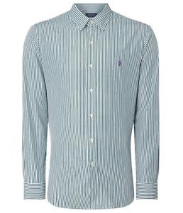 Camicia-da-uomo-Ralph-Lauren-Manica-Lunga-Classic-Fit-Bianco-Verde-a-Righe-M-XL-TG