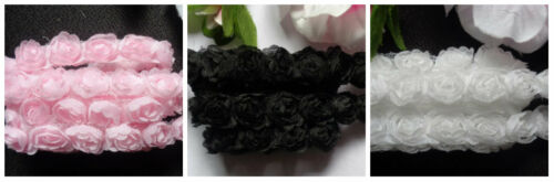 5//8 inch wide pink,black,white rose lace price per yard