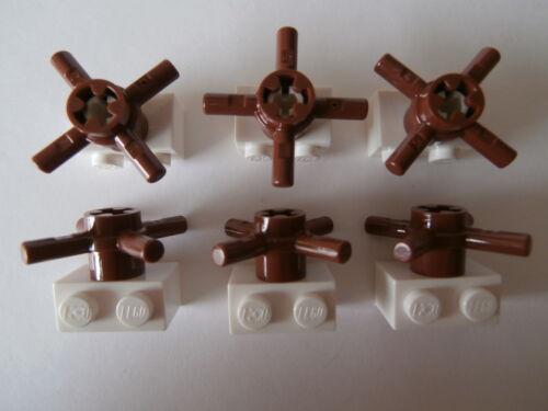 Lego 6 x timón en marrón con soporte blanco Artículo nuevo