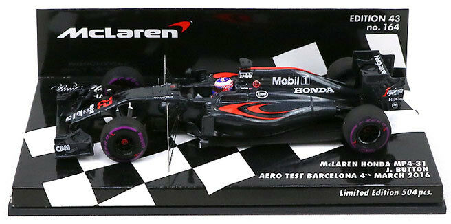 Minichamps mclaren honda MP4-31  22 aero test 2016-jenson button échelle 1 43