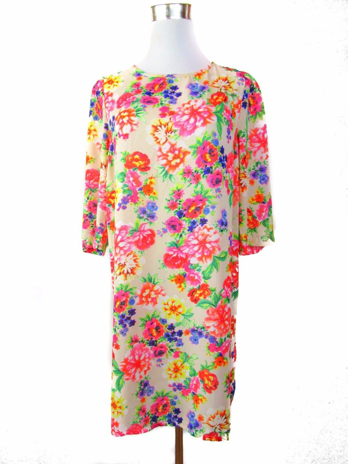 NEW LOOK Womens Vintage 60s Retro Style Floral 3 4 Sleeve Shift Dress sz M BB8