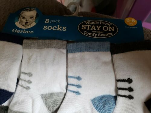 0-6  Months Gerber Baby Boy 6 Pack Wiggle Proof Socks Variety