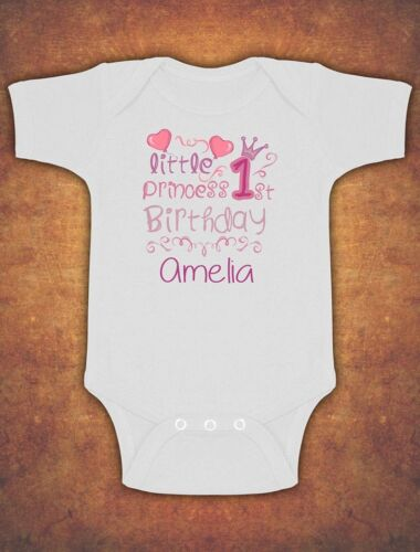 Personalised Little Princess First 1st Birthday Baby Kids Present Vest Bodysuit