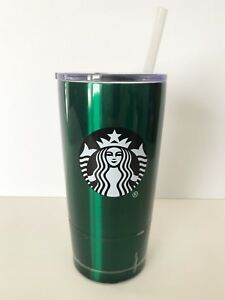 Details about Green Starbucks Stainless Steel Tumbler 20oz Straw Thermos  NEW!
