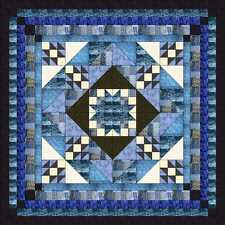 Ezy Quilt Kit/Diamond Medallion/King/Pre-cut Fabric Ready2Sew/Blue/Black/White**