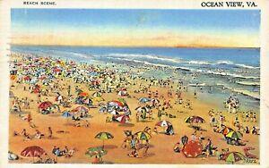OCEAN-VIEW-VIRGINIA-BEACH-SCENE-1937-POSTMARK-POSTCARD