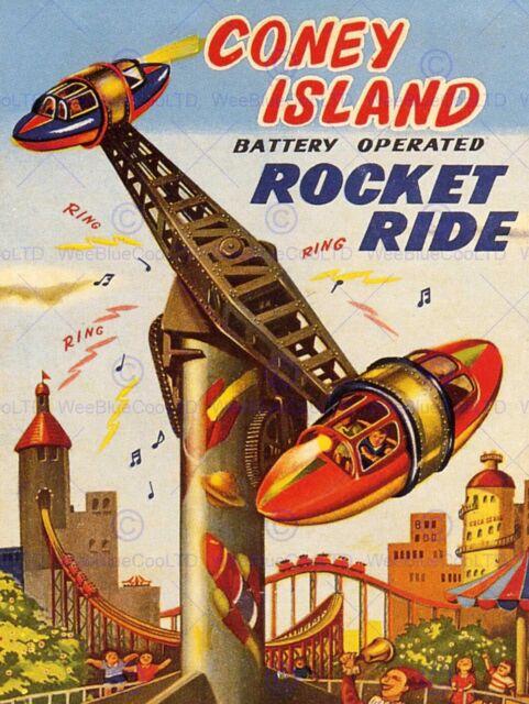 FAIRGROUND RIDE CONEY ISLAND ROCKET RIDE CHILDREN USA ART PRINT POSTER BB7139